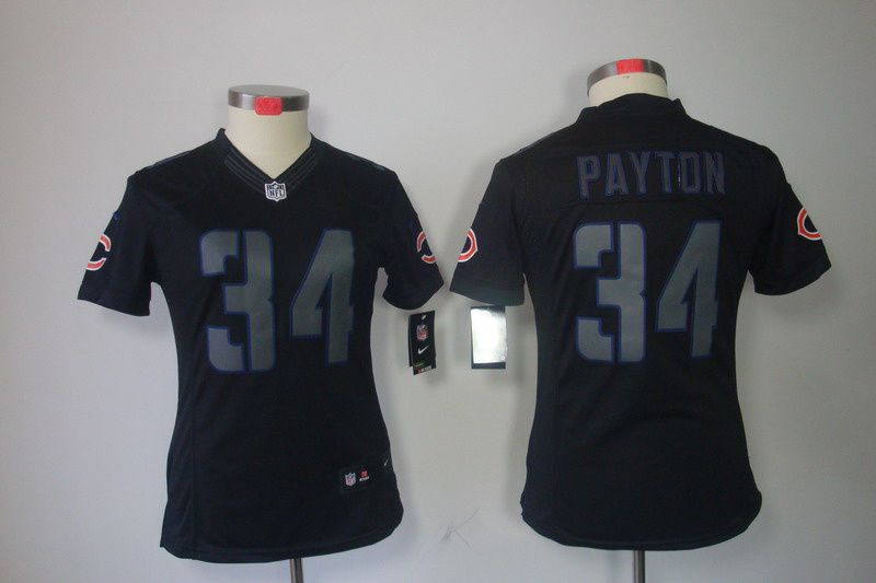 Nike Bears 34 Payton Black Impact Women Limited Jerseys