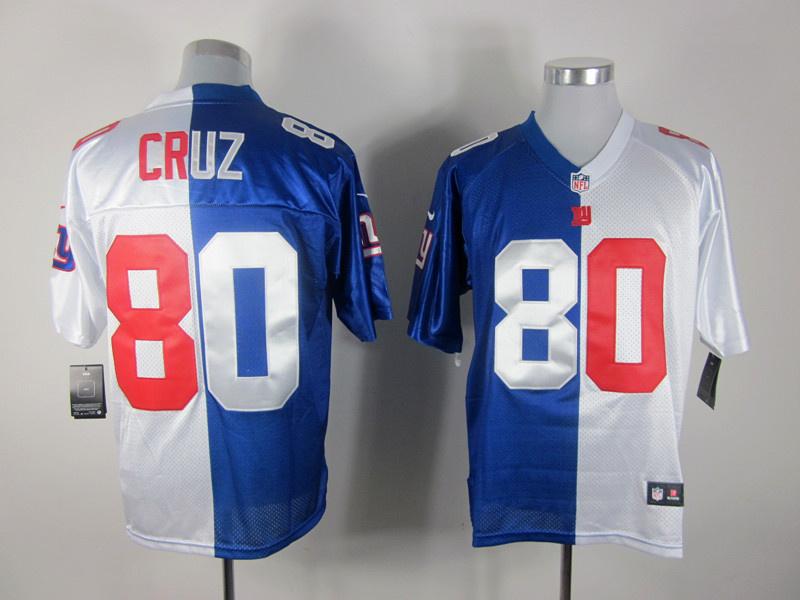 Nike Giants 80 Cruz Blue&White Split Elite Jerseys