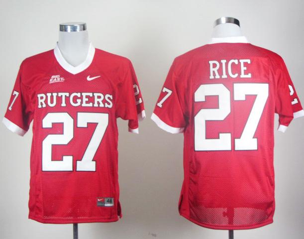 Nike NCAA Rutgers Scarlet Knights RICE 27 Red Men Jerseys