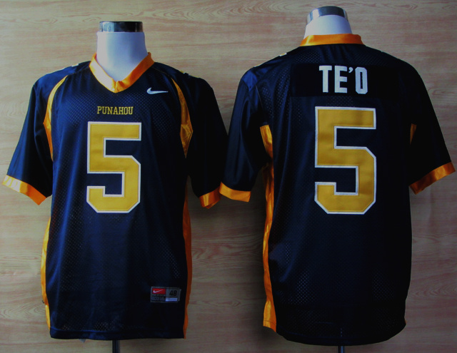 Nike Punahou High School(Honolulu)Manti 5 Te'O Blue Jerseys
