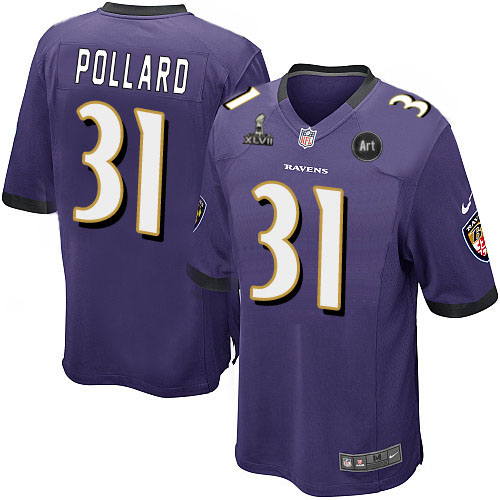 Nike Ravens 31 Pollard purple Game 2013 Super Bowl XLVII and Art Jerseys