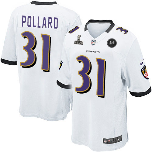 Nike Ravens 31 Pollard white Game 2013 Super Bowl XLVII and Art Jerseys