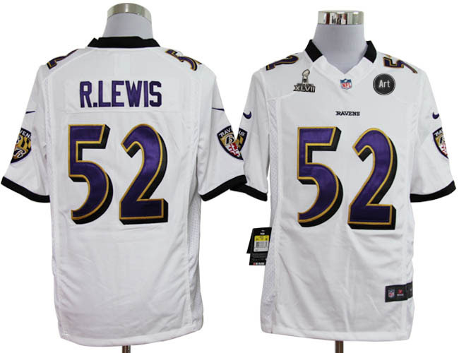 Nike Ravens 52 R.lewis white Game 2013 Super Bowl XLVII and Art Jerseys