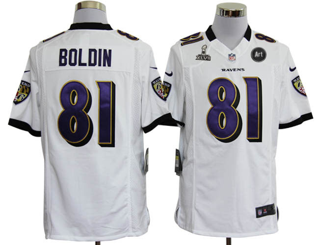 Nike Ravens 81 Boldon white Game 2013 Super Bowl XLVII and Art Jerseys