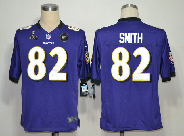 Nike Ravens 82 Smith purple Game 2013 Super Bowl XLVII and Art Jerseys