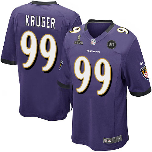 Nike Ravens 99 Kruger purple Game 2013 Super Bowl XLVII and Art Jerseys