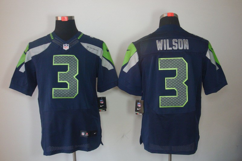 Nike Seahawks 3 Wilson Blue Elite Jerseys