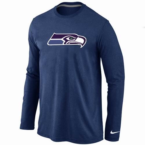 Nike Seattle Seahawks Logo Long Sleeve T-Shirt D.Blue