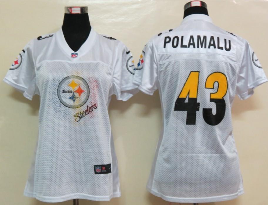 Nike Steelers 43 Polamalu White White Fem Fan Women Elite Jerseys