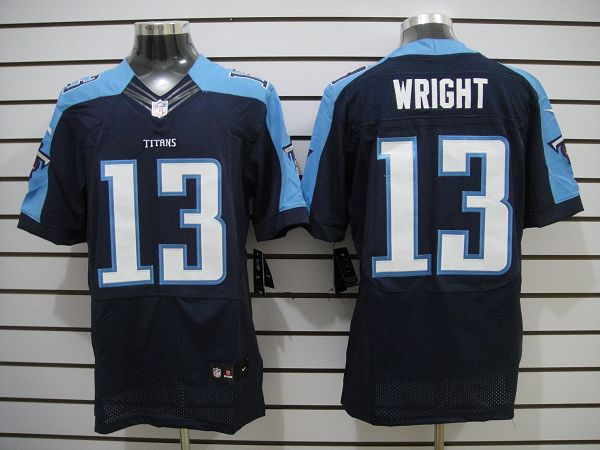 Nike Titans 13 Wright Dark Blue Elite Jerseys