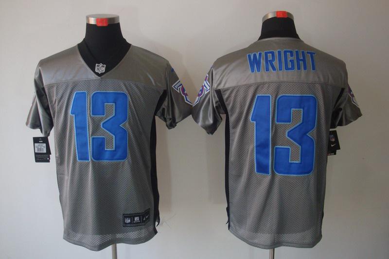 Nike Titans 13 Wright Grey Elite Jerseys