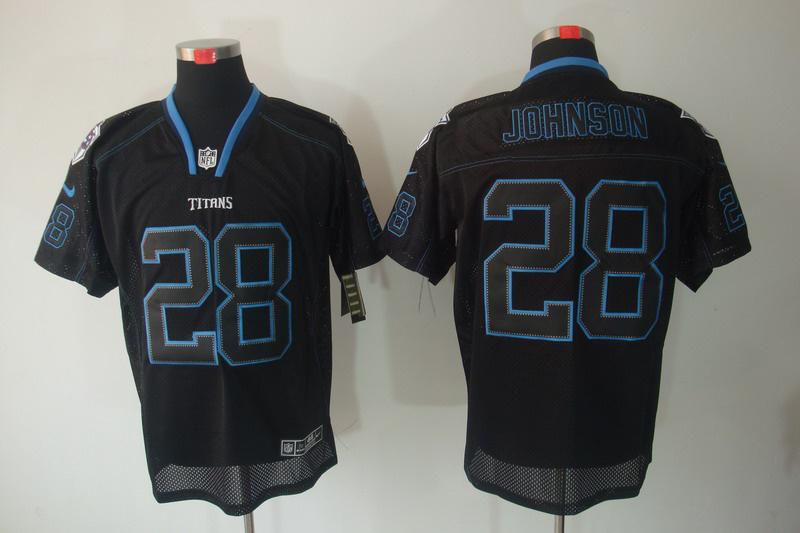 Nike Titans 28 JOHNSON Black Shadow Elite Jerseys