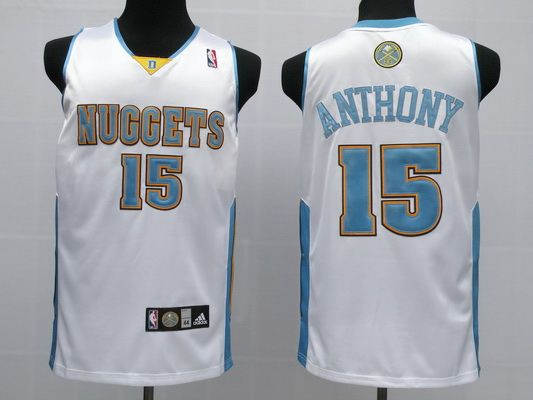 Nuggets 15 Carmelo Anthony White Jerseys