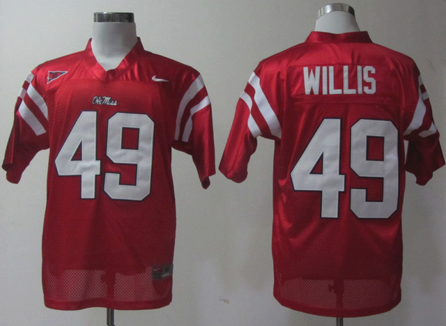 Ole Miss Rebels 49 Patrick Willis Red Jerseys