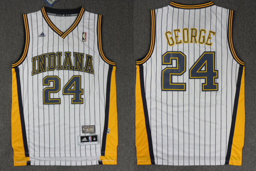 Pacers 24 George White stripe M&N Jerseys