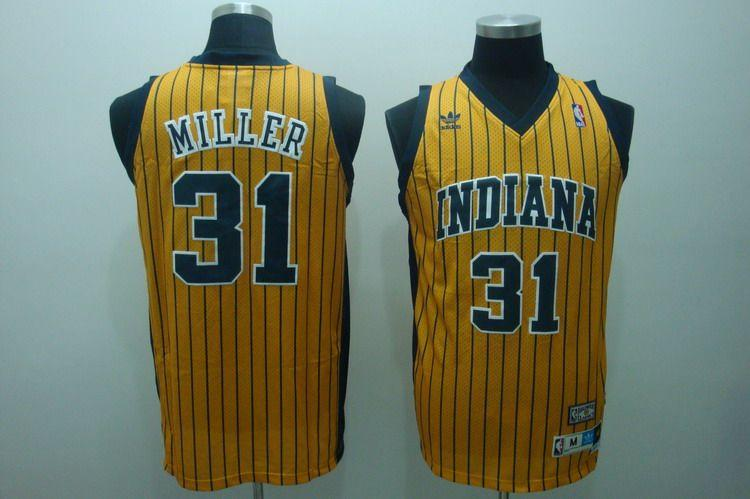 Pacers 31 Miller Yellow Jerseys