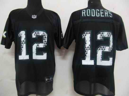 Packers 12 Aaron Rodgers black united sideline Jersey