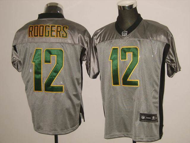 Packers 12 Rodgers Grey Jerseys