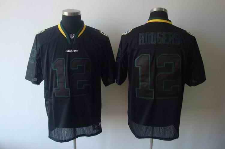 Packers 12 Rodgers black field shadow Jerseys
