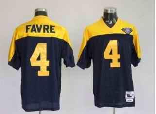 Packers 4 Brett Favre Dark Blue Yellow Throwback Jerseys