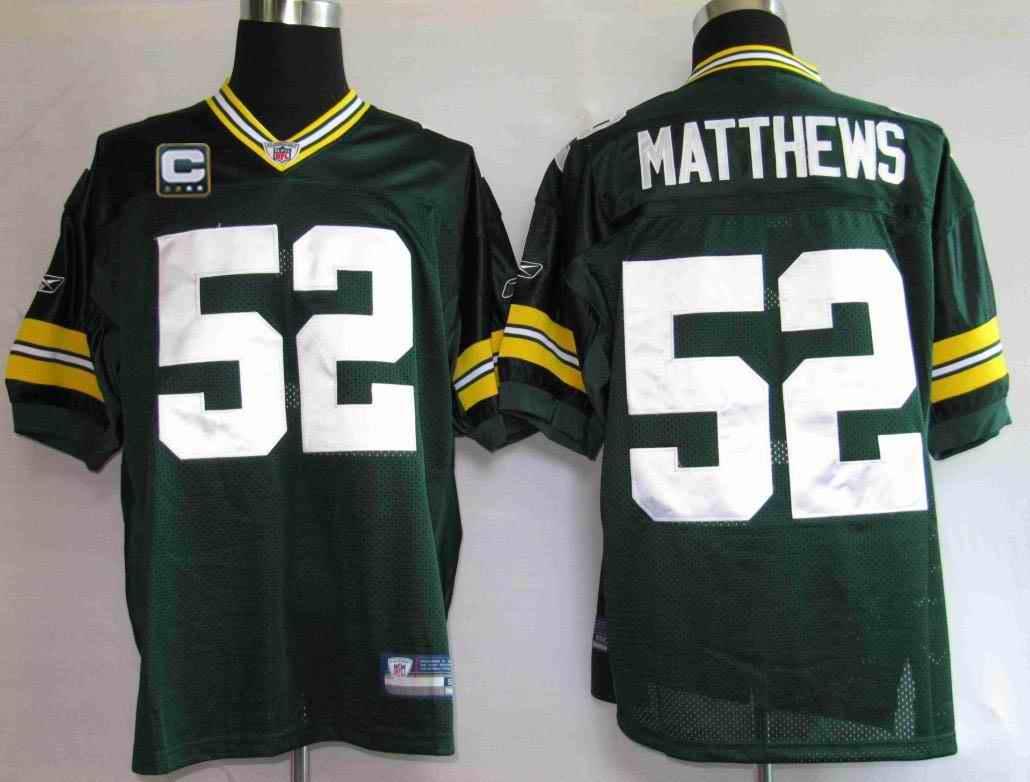 Packers 52 Matthews green C patch Jerseys