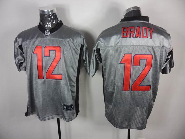 Patriots 12 Brady Grey Jerseys