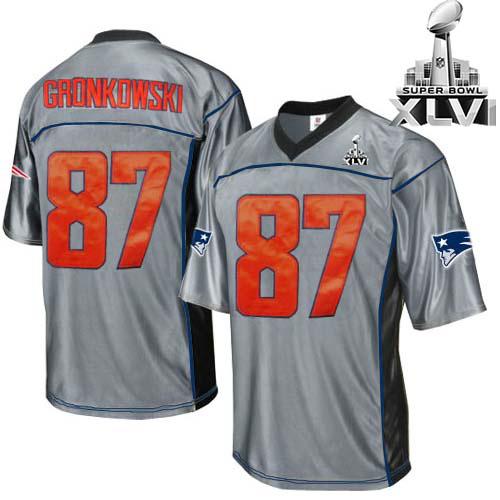 Patriots 87 Gronkowski Grey 2012 Super bowl Jerseys