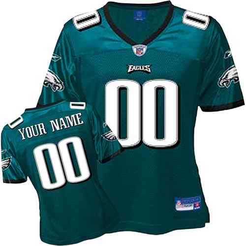 Philadelphia Eagles Women Customized Green Jersey