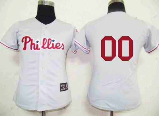 Philadelphia Phillies Blank Grey Women Custom Jerseys