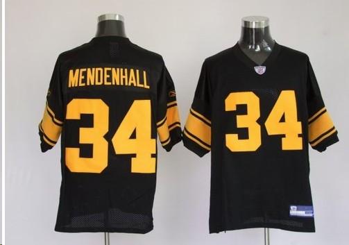 Pittsburgh Steelers 34 Rashard Mendenhall Black Yellow Number Jerseys