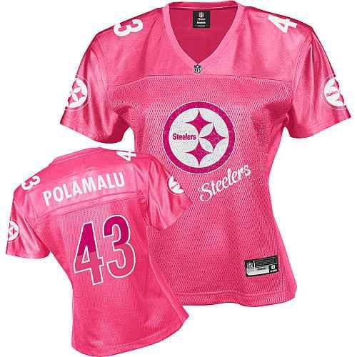 Pittsburgh Steelers 43 POLAMALU pink Womens Jerseys
