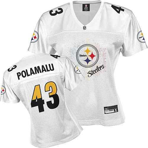 Pittsburgh Steelers 43 POLAMALU white Womens Jerseys