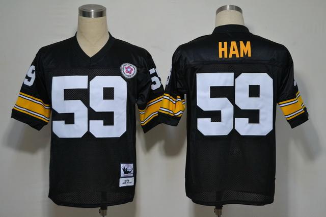 Pittsburgh Steelers 59 Ham Black Throwback Jerseys