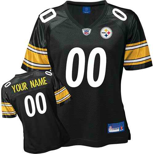 Pittsburgh Steelers Women Customized Black White Number Jersey