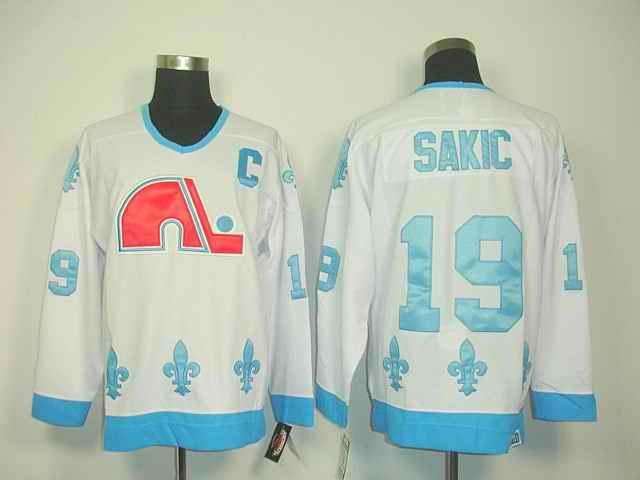 Quebec Nordiques 19 Sakic white jerseys