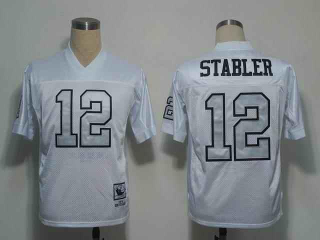Raiders 12 Ken Stabler white silver number Jerseys