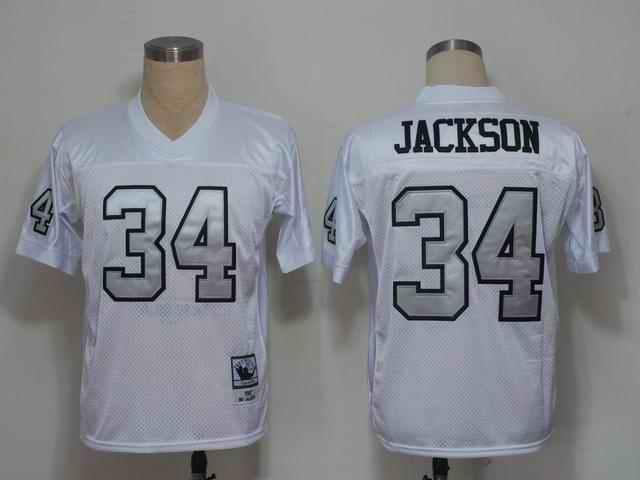 Raiders 34 Bo Jackson white silver number Jerseys