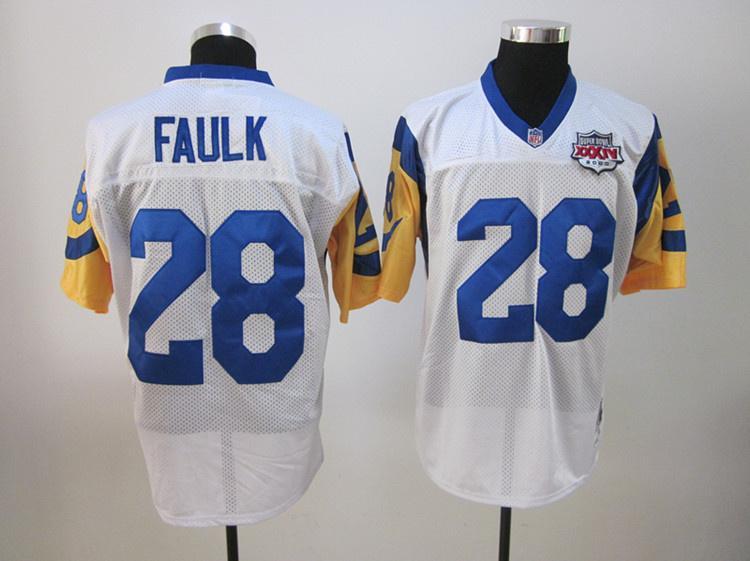Rams 28 Faulk white super bowl Jerseys