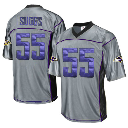 Ravens 55 Suggs Grey Jersey