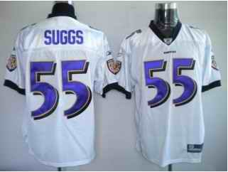 Ravens 55 Terrell Suggs White Jerseys