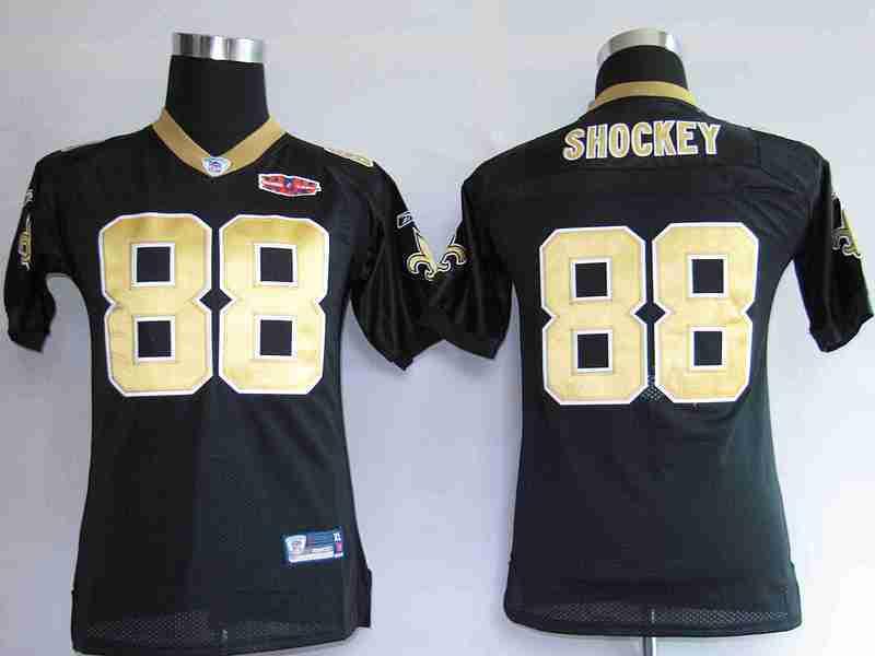 Saints 88 Shockey Black 2010 Super Bowl Women Jerseys