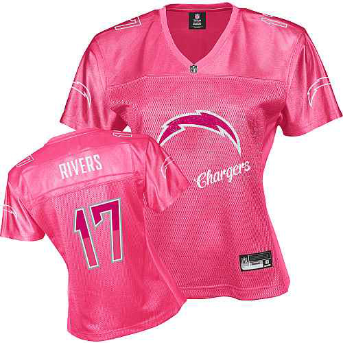 San Diego Chargers 17 RIVERS pink Womens Jerseys