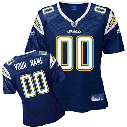 San Diego Chargers Women Customized Dark Blue Jersey