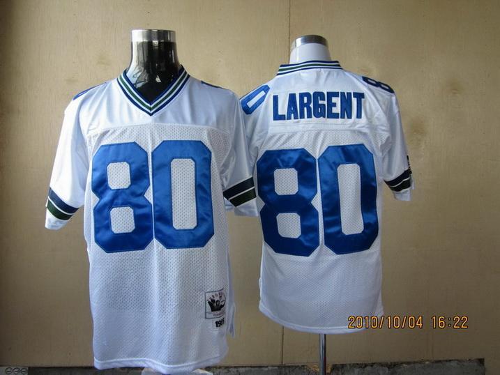 Seahawks 80 Largent white Throwback Jerseys