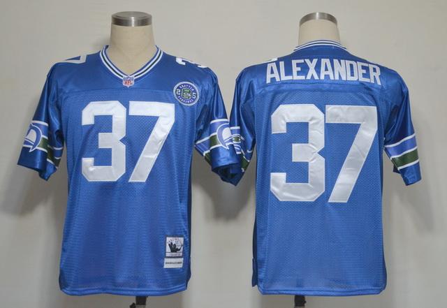 Seattle Seahawks 37 Shaun Alexander Blue Throwback Jerseys
