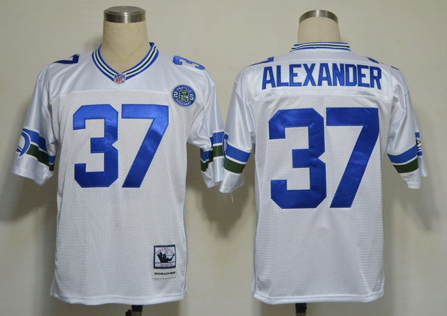 Seattle Seahawks 37 Shaun Alexander White Throwback Jerseys