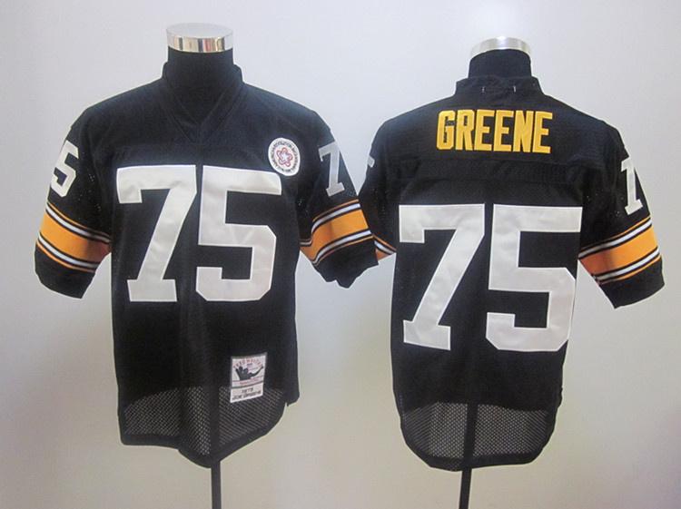 Steelers 75 Greene 1975 Throwback Black Jerseys