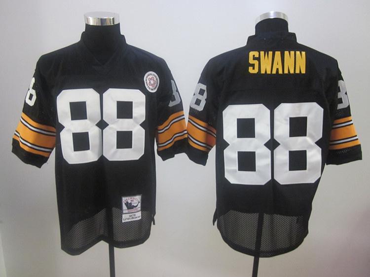 Steelers 88 Swann 1975 Throwback Black Jerseys