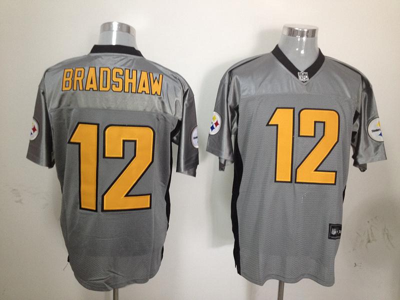Steelers 12 Bradshaw Grey Jerseys