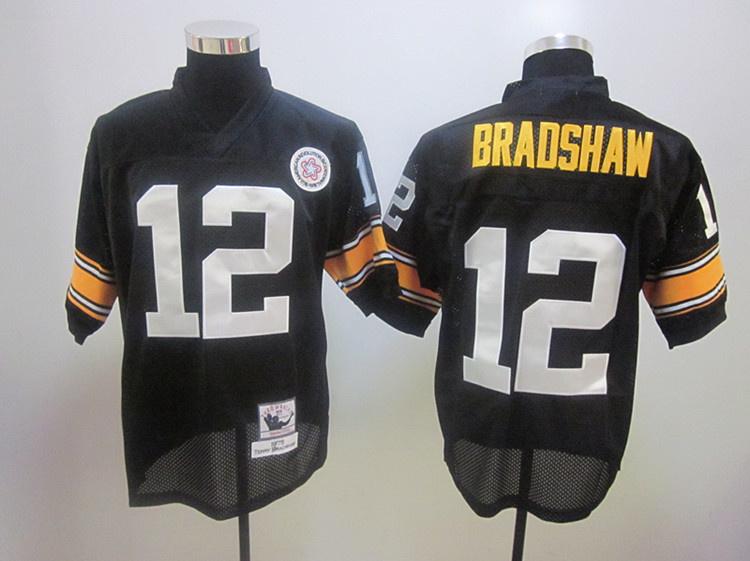 Steelers 12 Terry Bradshaw 1975 Throwback Black Jerseys
